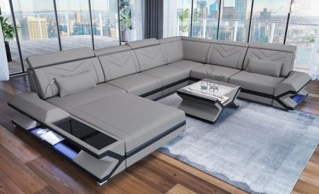 Fabric Design Sofa San Francisco Xl With Led In 2020 Large Sectional Sofa Fabric Sectional Sofas Extra Large Sectional Sofa