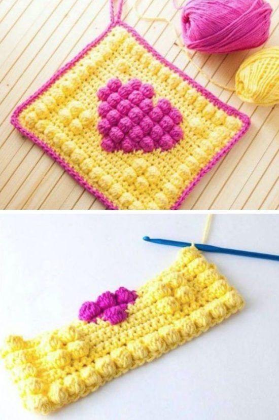 Crochet Bobble Heart Pattern Granny Square Video Tutorial ...
