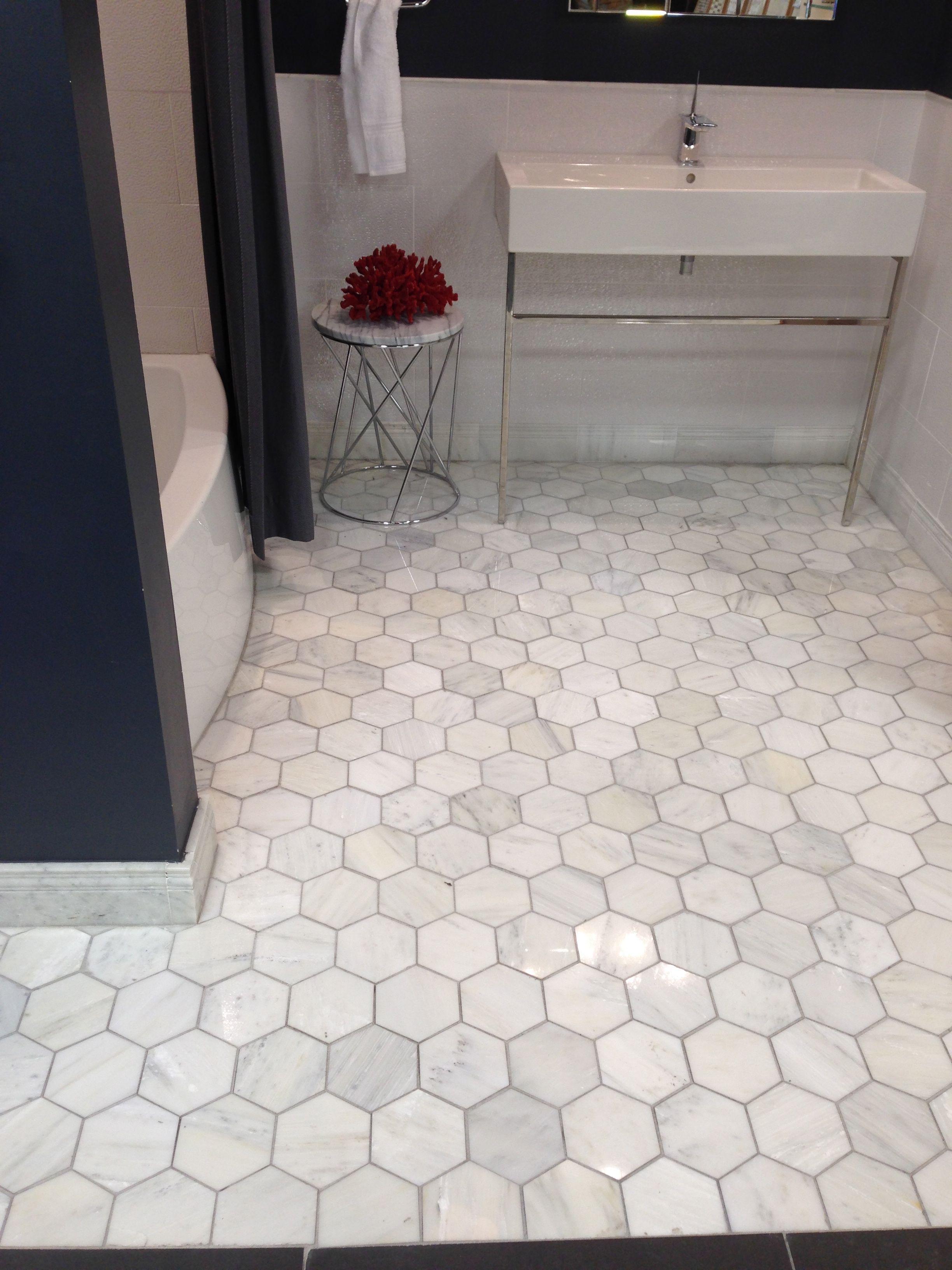 innovative bathroom floor tile ideas | oversize hex marble 10-13 sq ft in 2020 | Best bathroom ...