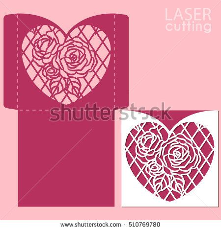 Die Laser Cut Vector Template Wedding Invitation Mockup With Lace