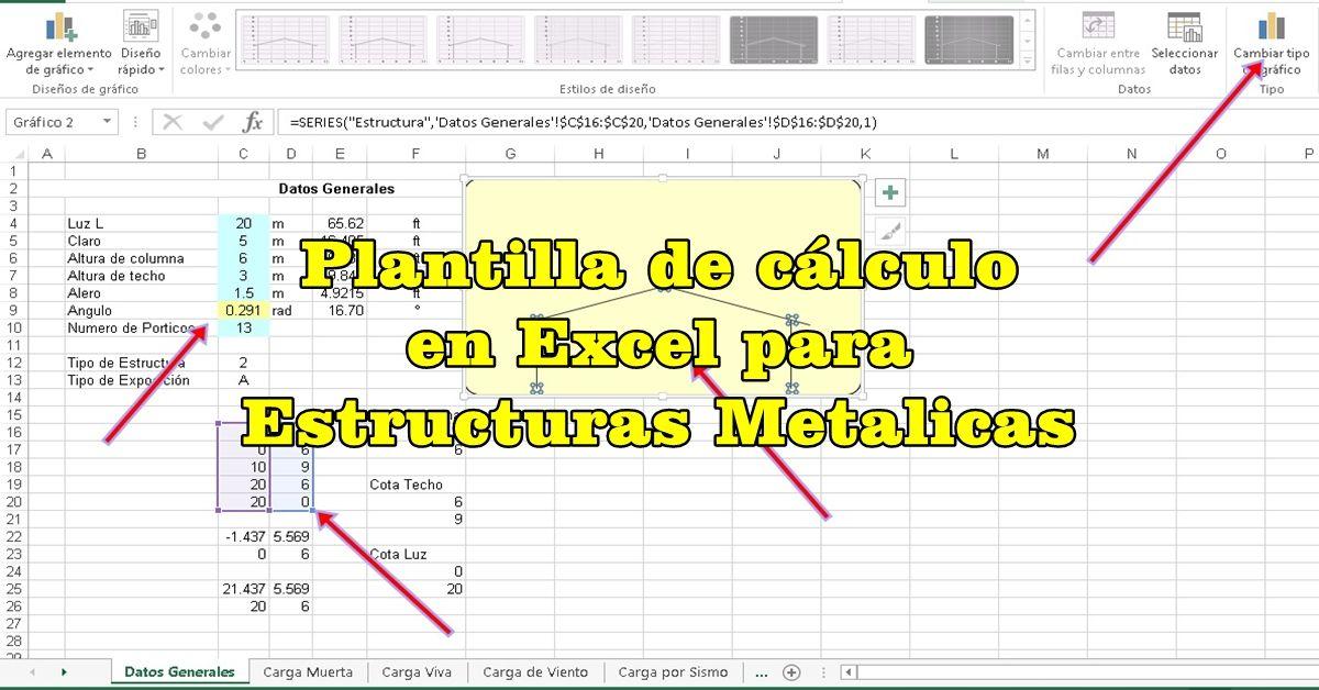 Plantilla de cálculo en Excel para Estructuras Metalicas | Calculo ...
