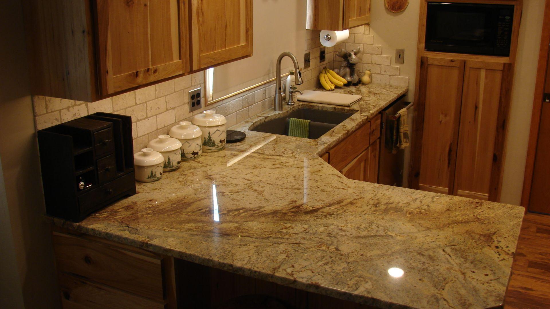 3cm Typhoon Bordeaux Granite with Composite Granite sink by Blanco ...