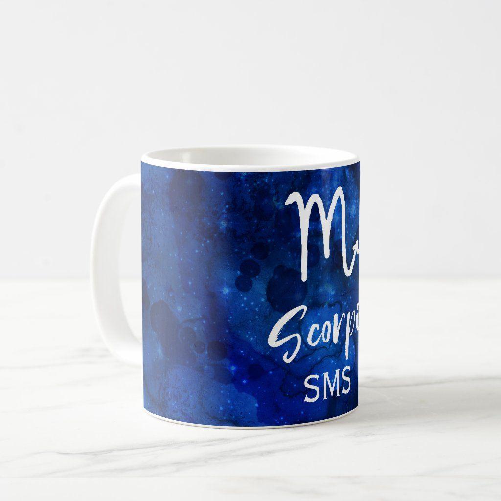 Scorpio Zodiac Constellation Blue Galaxy Monogram Coffee Mug