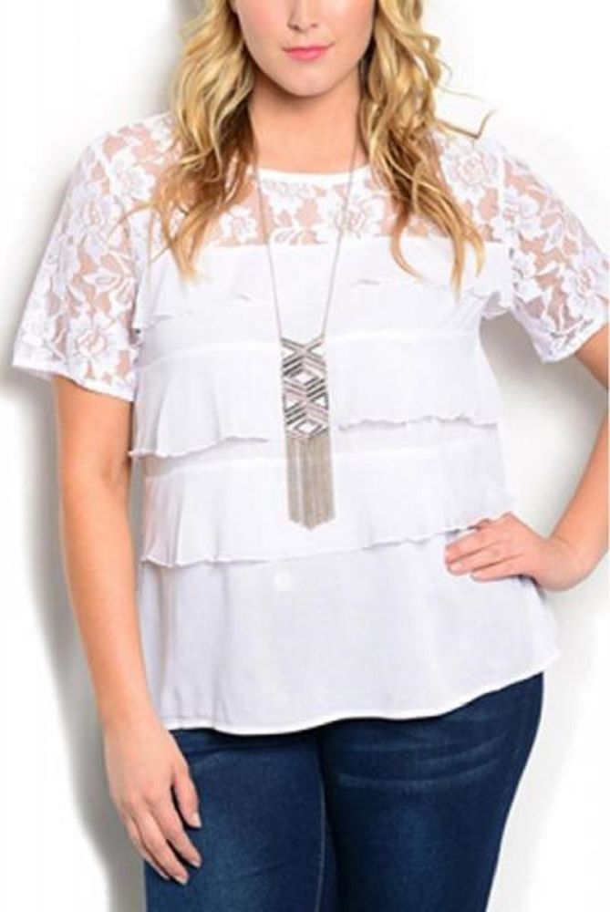 1cc092ddd1a SIZE 2XL Womens Tiered Top IRE Solid White Scoop Neck Lace Yoke Short  Sleeves #IRE #Blouse #EveningOccasion