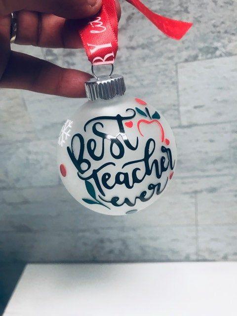 Teacher gift, Best teacher ever, Teacher gifts, Gifts for teachers, Teacher ornament, ornament, personalized ornamentfast Shipping