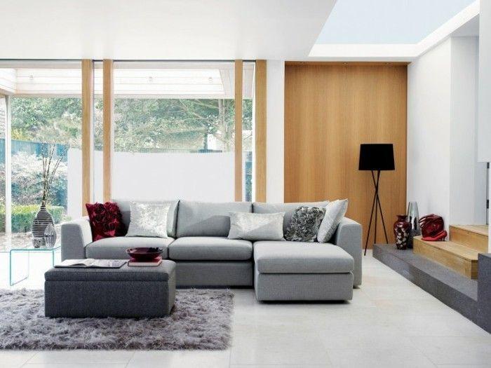 mobilier gris et peinture murale blanche quelques touches de rouge et bois salon gris et blanc excellent