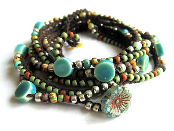 Crochet boho wrap bracelet / necklace beaded Lola by CoffyCrochet