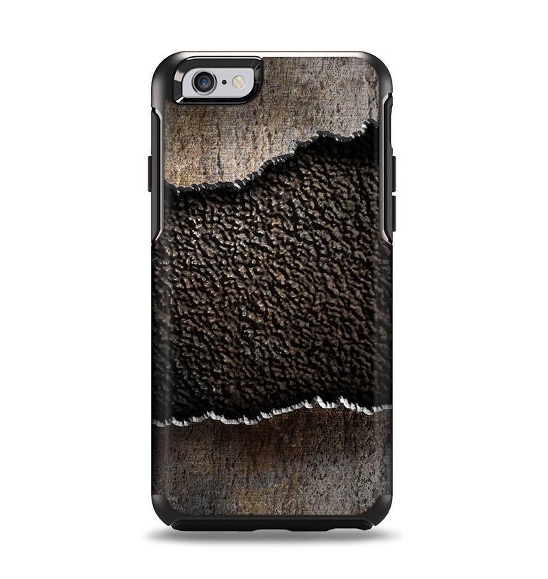 The Grunge Ripped Metal with Bevel Apple iPhone 6 Otterbox Symmetry Case Skin Set