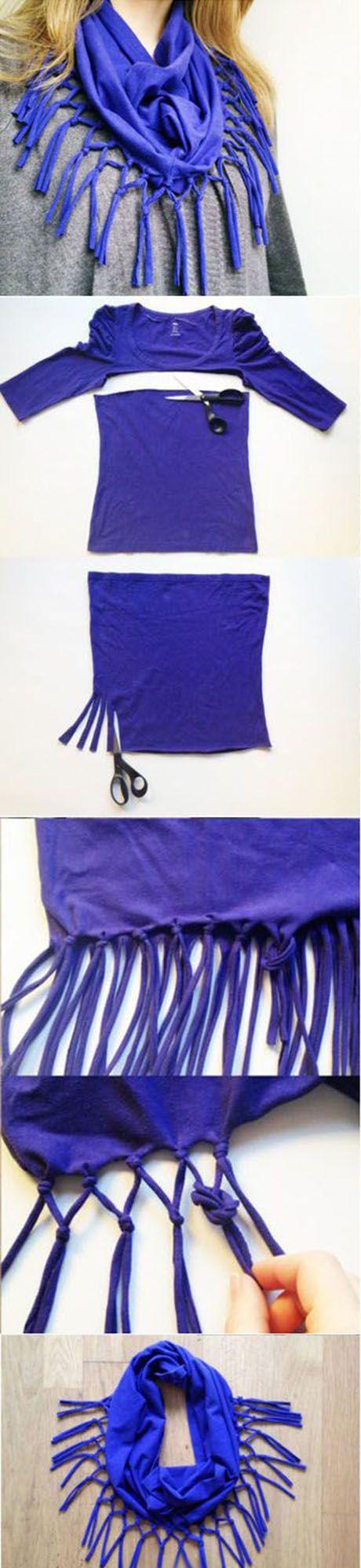 cuello con flecos a partir de camiseta diy textils pinterest schalknoten schals und n hen. Black Bedroom Furniture Sets. Home Design Ideas