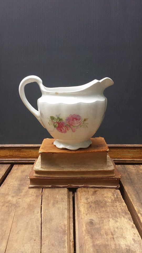 Vintage Ironstone Pitcher With Rose And Gold Decor by ElisabethMacBeth on Etsy