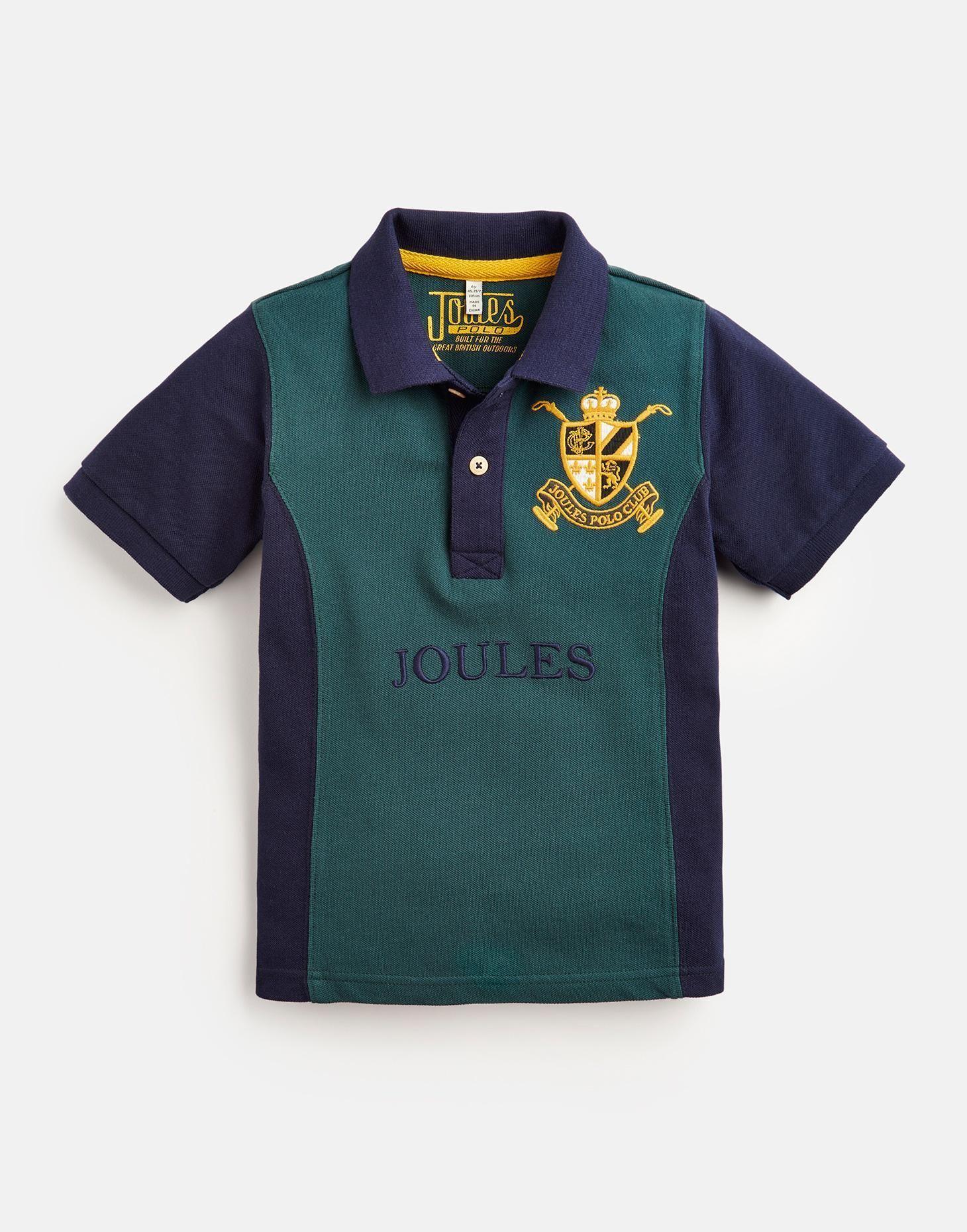Boys Older Harry Dark Emerald Branded Polo Shirt Joules Uk The