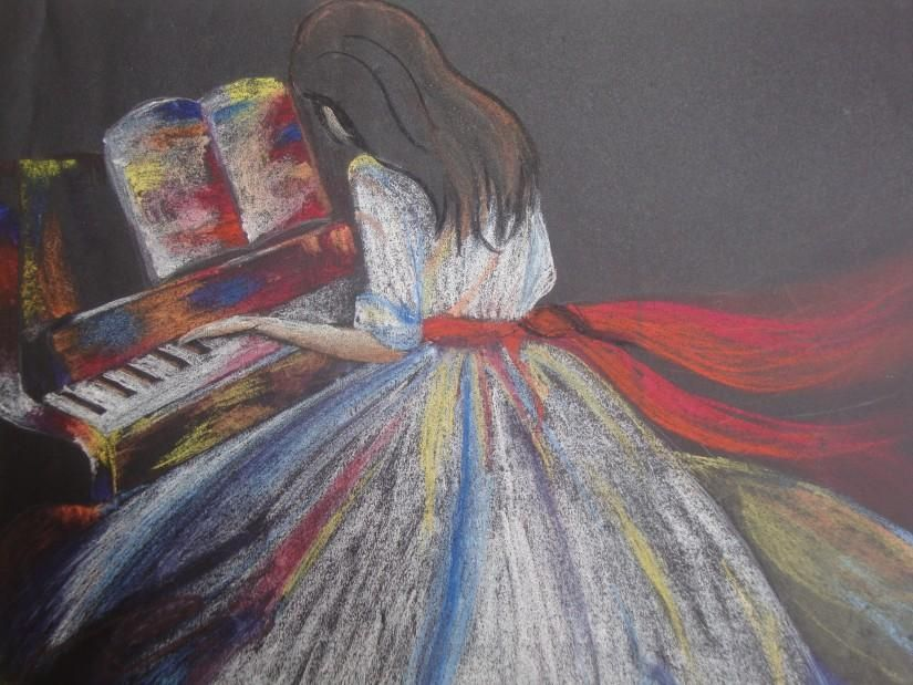 girl playing piano..... dry pastel work. - Sketching by ...