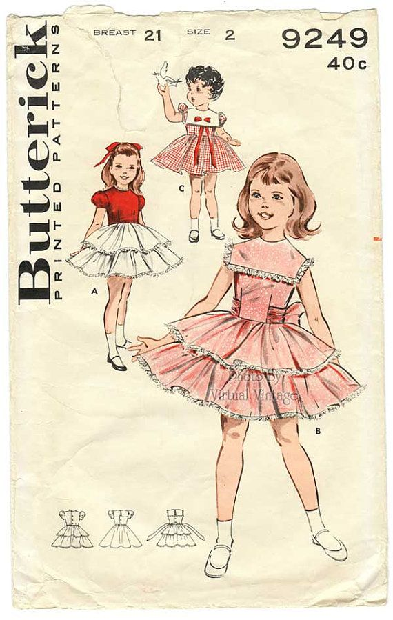 50s Vintage Girls Bouffant Dress Sewing Pattern Butterick 9249 Size ...