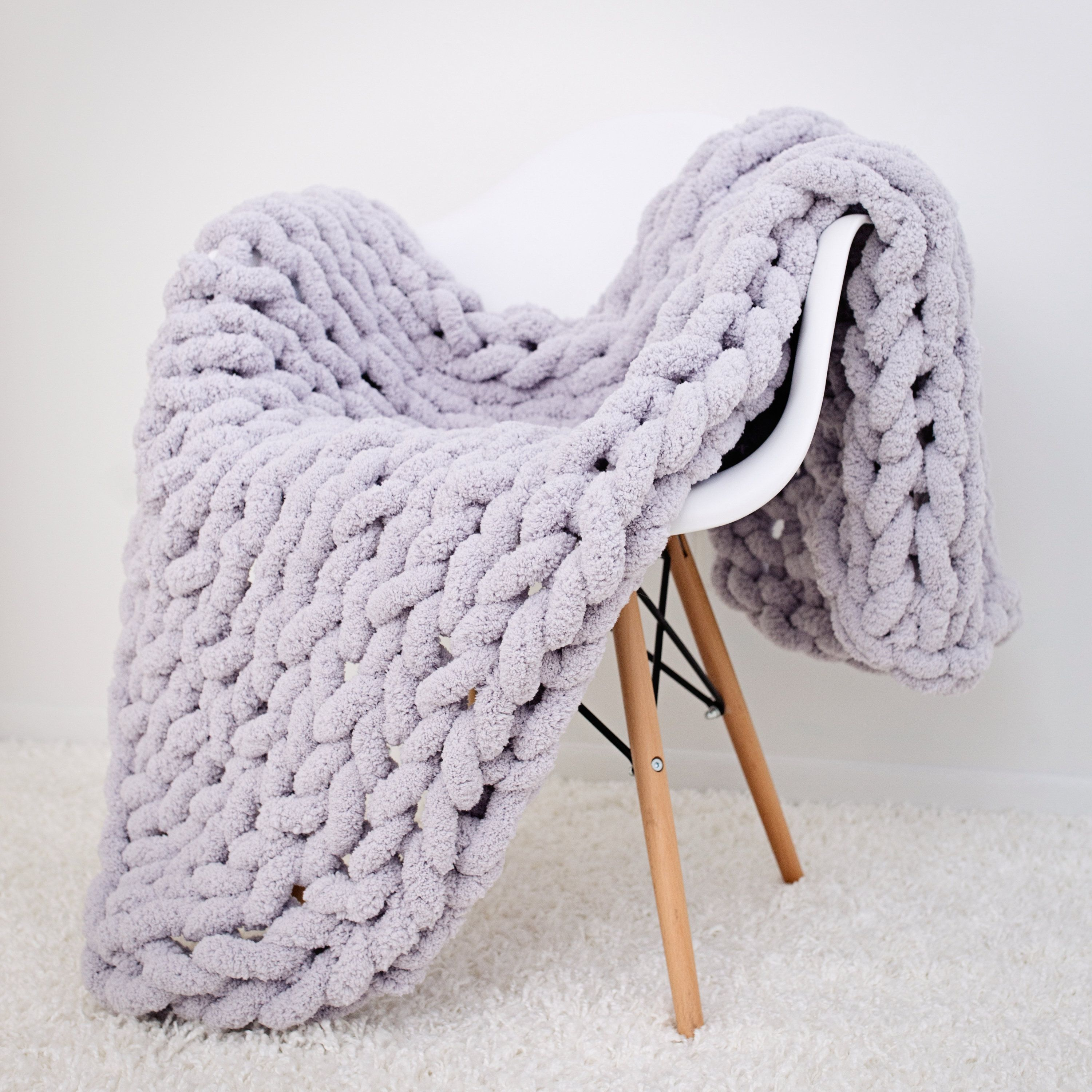 Chunky Knitted Blanket Area Rug Mat Thick Soft Yarn Mattress Cover Home Decor