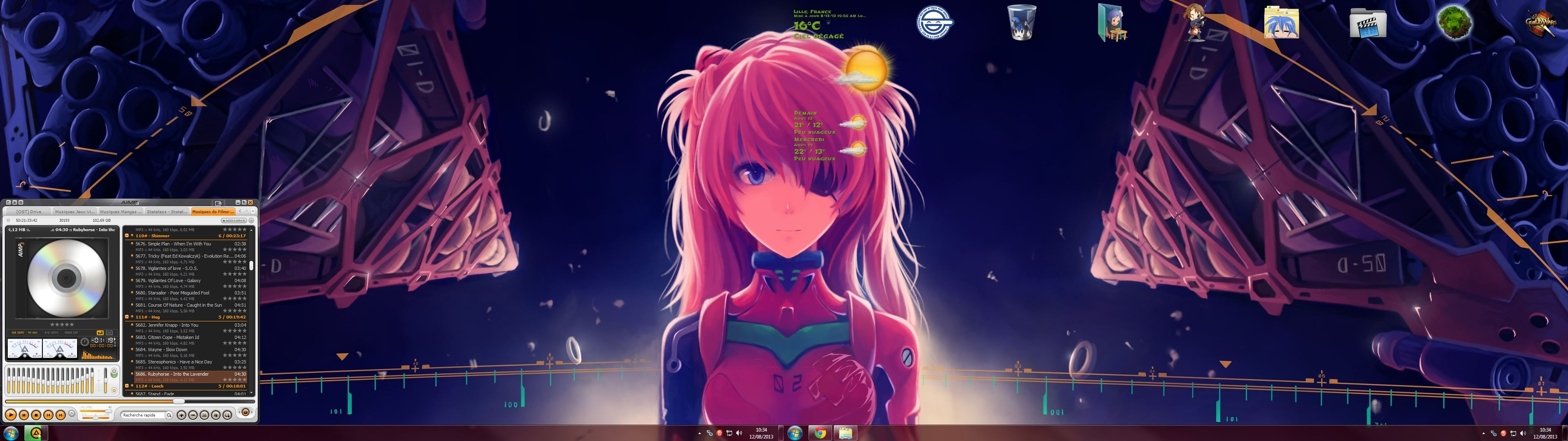 asuka wallpaper on dual screen with displayfusion