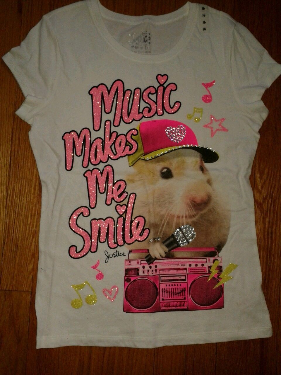 Girls justice music makes me smile hamster tshirt size 16