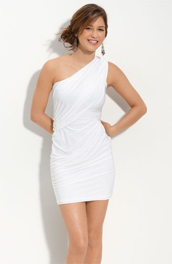 Forever 21 White Peplum Dress | This simple white one shoulder ...