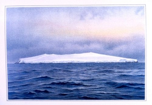 F. Winter, Bouvet Island, southeast side, as seen at sunrise, eight miles distant, November 26, 1898.    (arcticanstars)
