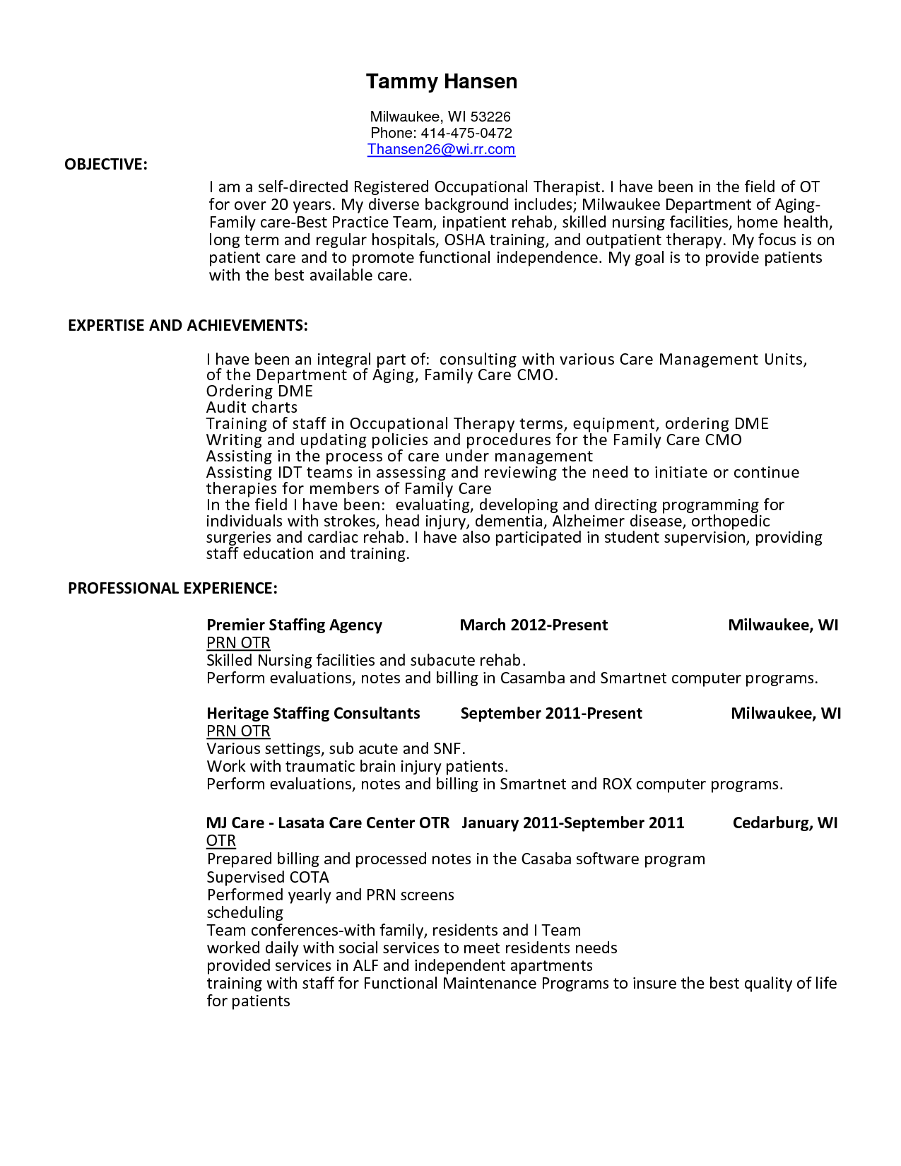 Occupational Therapy Aide Sample Resume Cota L  Resume Examples  Pinterest  Resume Examples