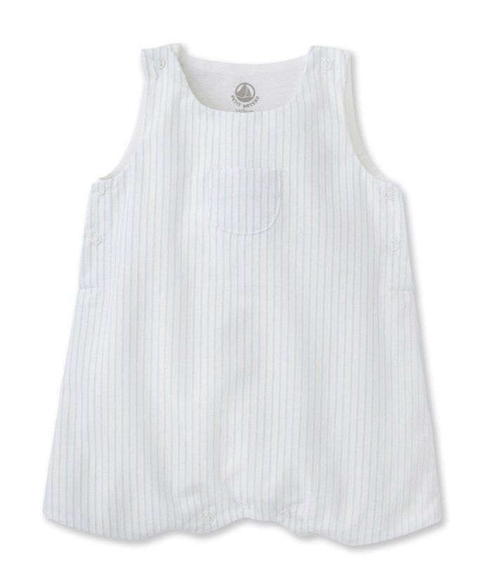 f0c40c3aea20 Baby boy dungarees in striped poplin Fraicheur blue   Ecume white ...