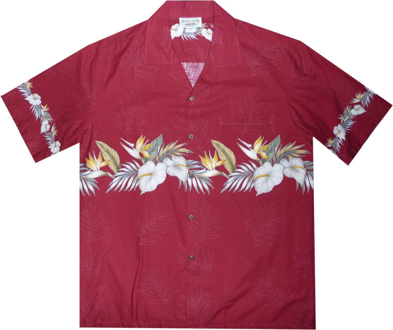 f450ed56 Bird of Paradise Red Hawaiian Border Aloha Sport Shirt #hawaiianshirts  #alohashirt #cheaphawaiianshirt #hawaiianshirt #vintagehawaiianshirts