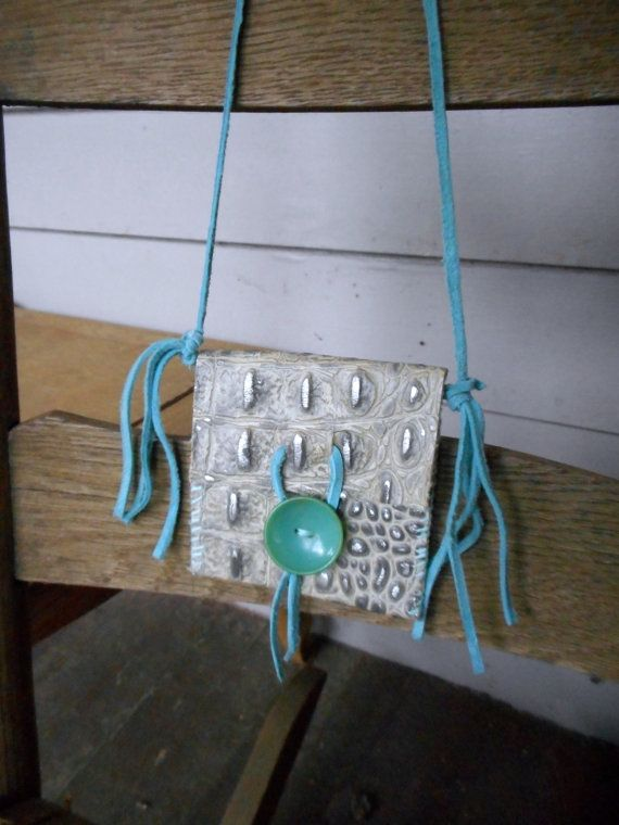 BLUE BAYOU DRAGON Amulet native tribal spiritual men women handmade medicine bag pouch boho Shaman worry bag - Crocodile / Alligator Look
