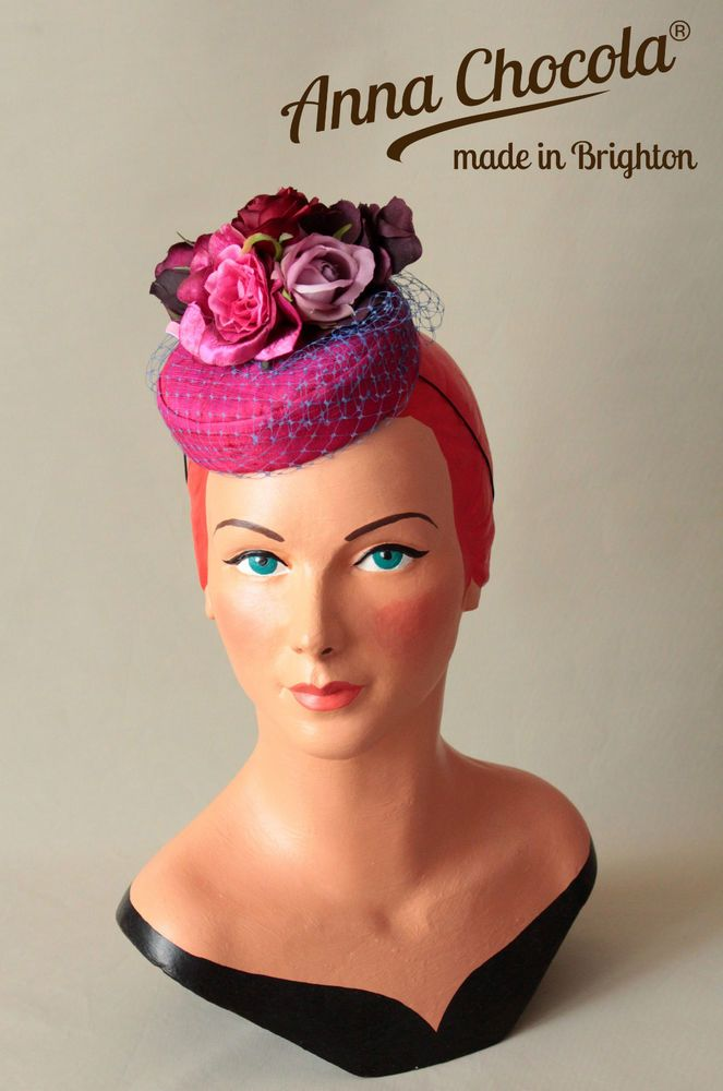 1940s 50s PILLBOX HAT pink silk purple net ROSES red mauve Anna Chocola  Brighton 28c52c22bfa