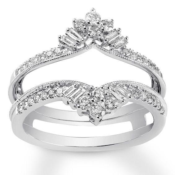 Diamond Enhancer Ring 1 2 Ct Tw Round Baguette 14k White Gold Jared In 2020 White Gold Rings Rose Gold Engagement Ring Enhancer Wedding Band
