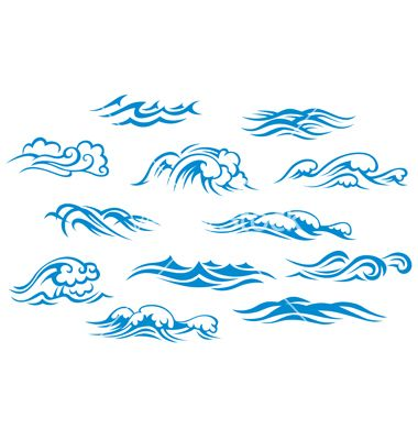 Ocean and sea waves set vector | map elements - water ...