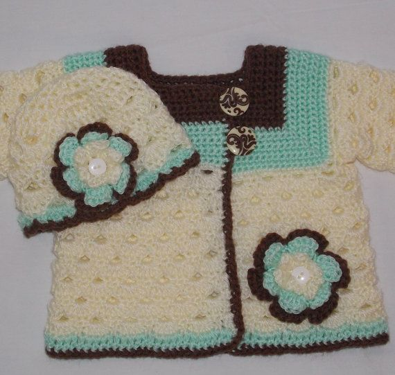 Crochet Baby Sweater Set  0 to 3 months  by sweetpeacollections, $35.00