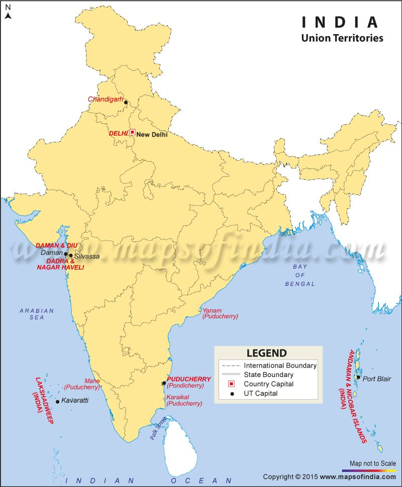 recent political map of india with union territories Map Of Union Territories Of India Union Territory Of India recent political map of india with union territories