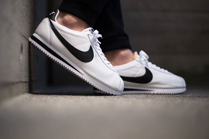 On foot shots of the Nike Classic Cortez Premium QS Black & White.  Available now