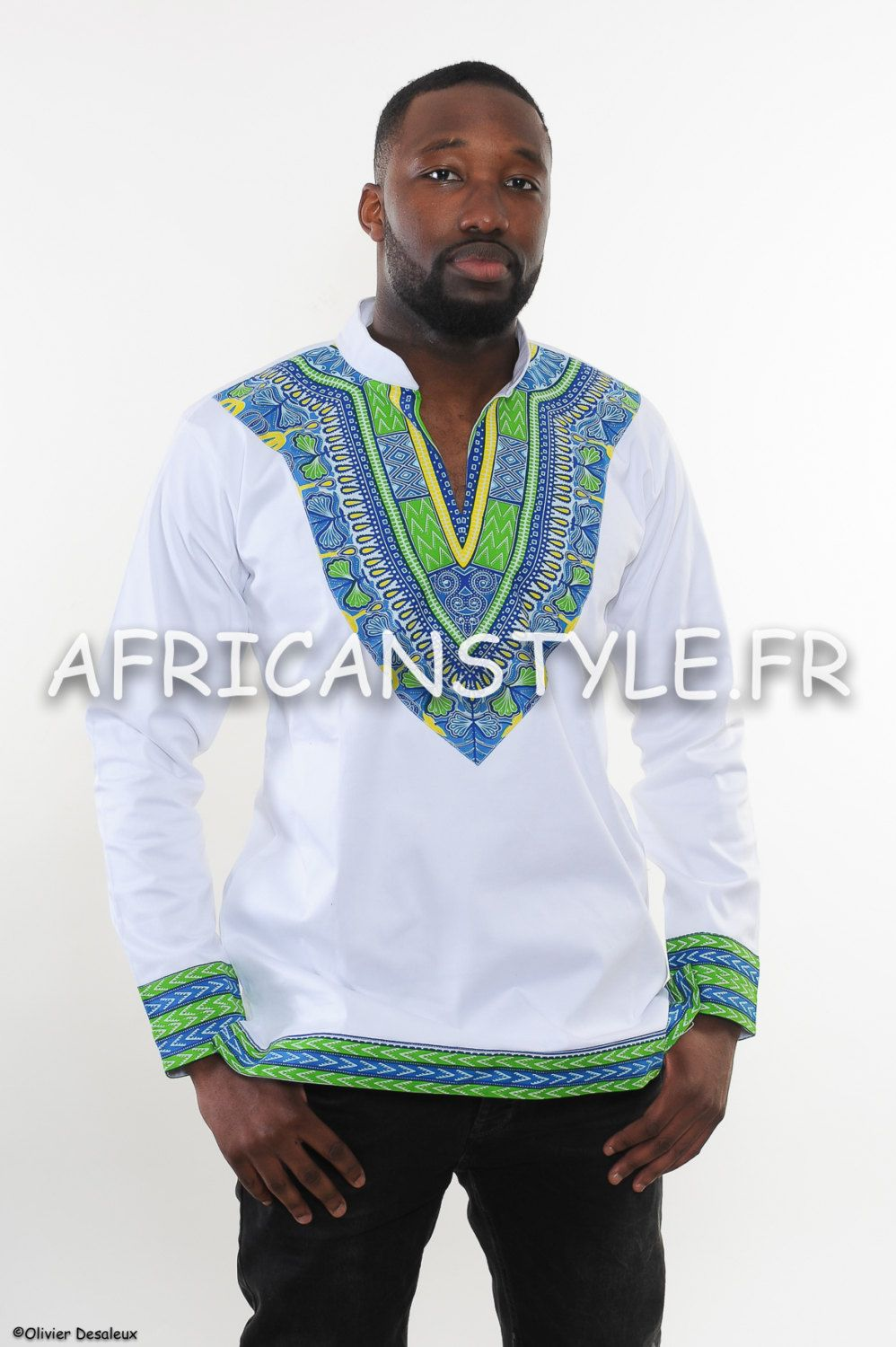 93775e58b1 Safire sleeve tunic long wax Addis Ababa blue by AfricanStyleAS ...