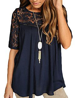 Women's+Casual/Daily+Simple+Summer+T-shirt,Solid+Round+Neck+Short+Sleeve+Rayon+Thin+–+USD+$+5.99
