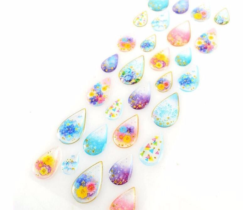 Water Drop Stickers Dazzling 3D Gemstone Various Designs Scrapbook Decorations #Unbranded