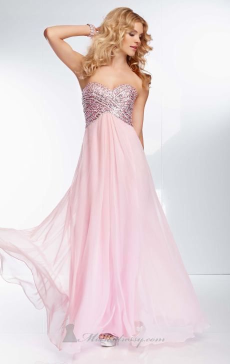 Pink Silver Prom Dress