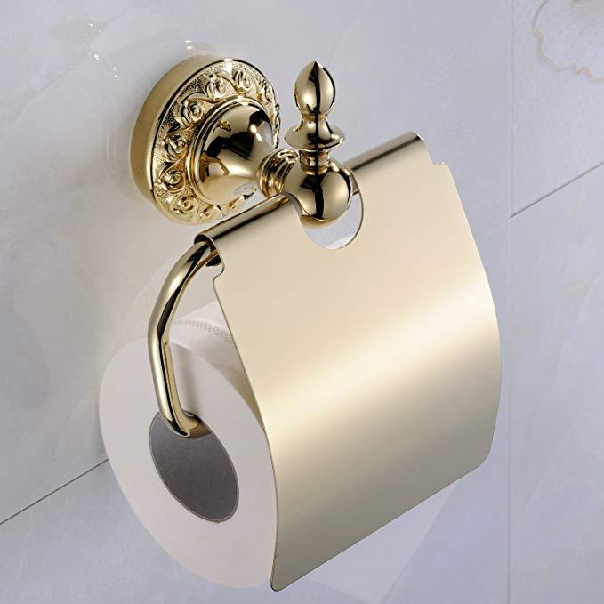 Weare Home Badzubeh/ör Modern Ti-PVD Finish Messing Antik Material WC-Rollenhalter Toilettenpapierhalter Papierrollenhalter zur Wandmontage