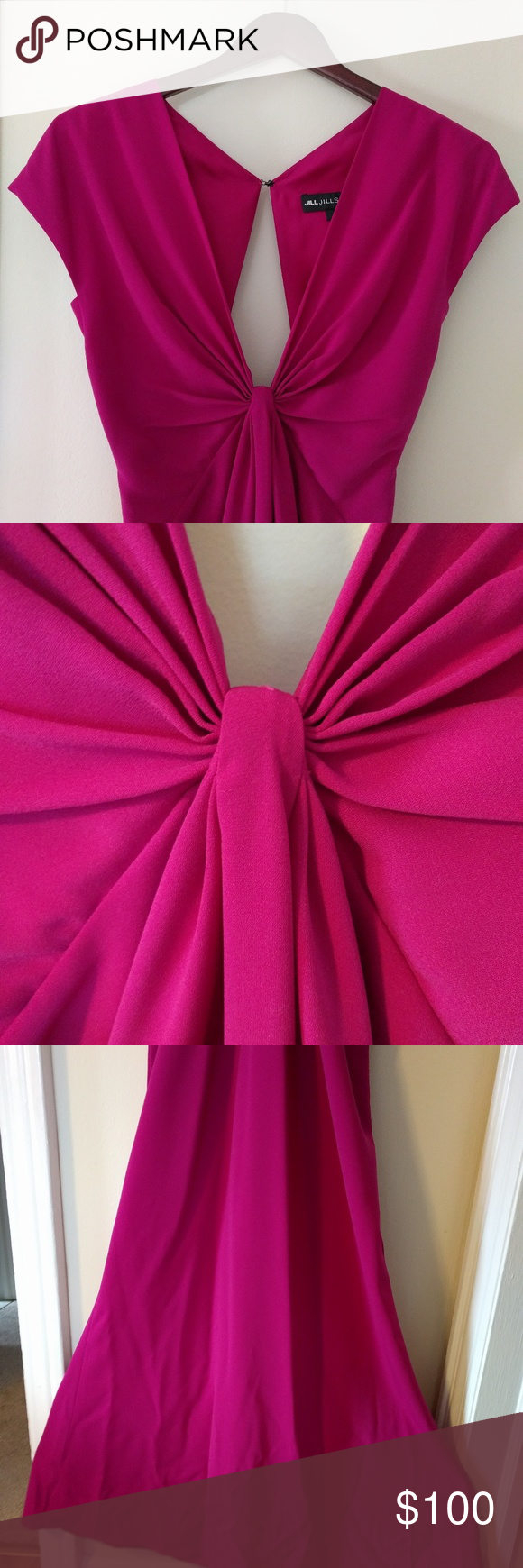 Deep vneck magenta color hot pink long gown hot pink flamingo