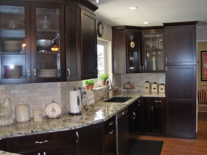 Kitchen Backsplash Cherry Cabinets White Counter white granite countertops white tile backsplash cherry cabinets