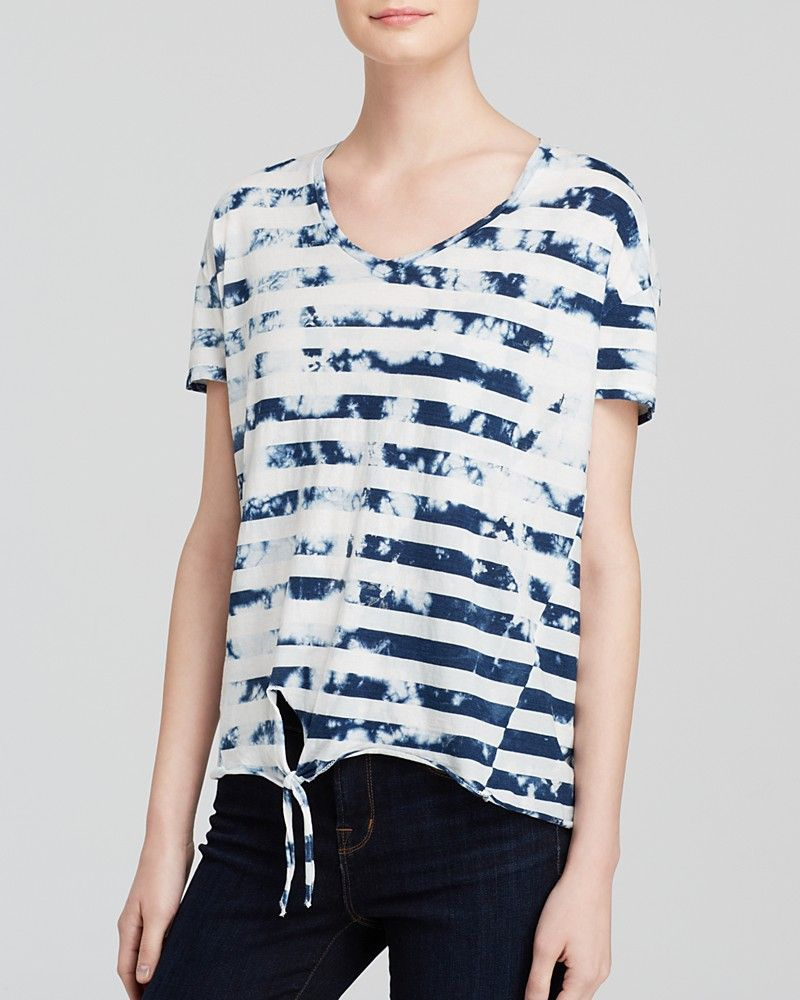 Stateside Tee Bleached Indigo Stripe Knot Front for Women