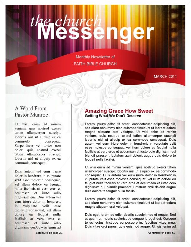 Colors Church Newsletter Template Page   Newsletter
