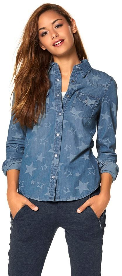 a84f80f54d8a  Denim  Bluse mit Sternmuster - Wir lieben  Sterne! Diese Bluse ist ein  absolutes  Trendteil ♥ ab 46,99 €