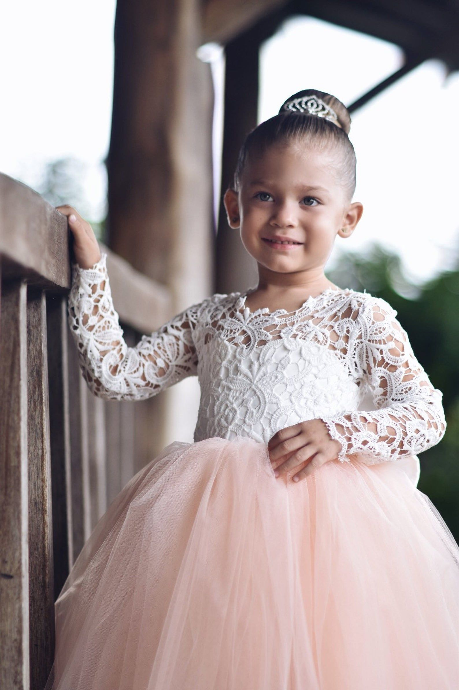 Lace flower girl dress long sleeve lace satin and tulle