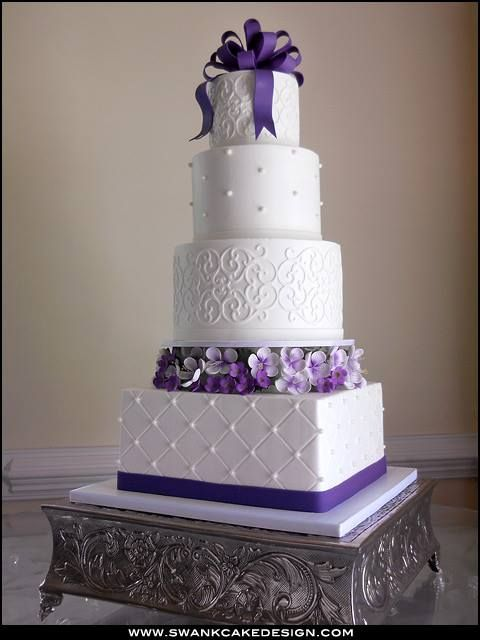 Stacked Purple Cake Purple Wedding Cakes Beautiful Cake