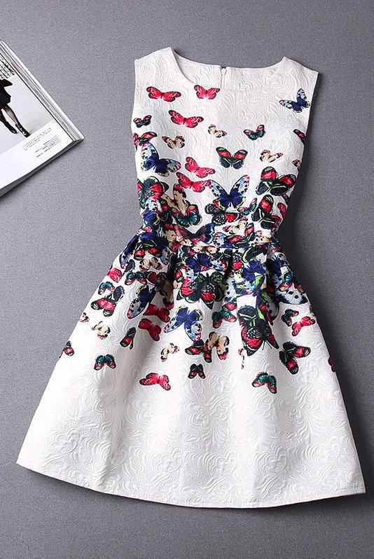 Butterflies Printed Summer Mini Dress