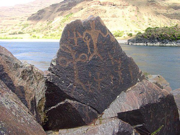 Petroglyphs displayed in Columbia Hills State Park