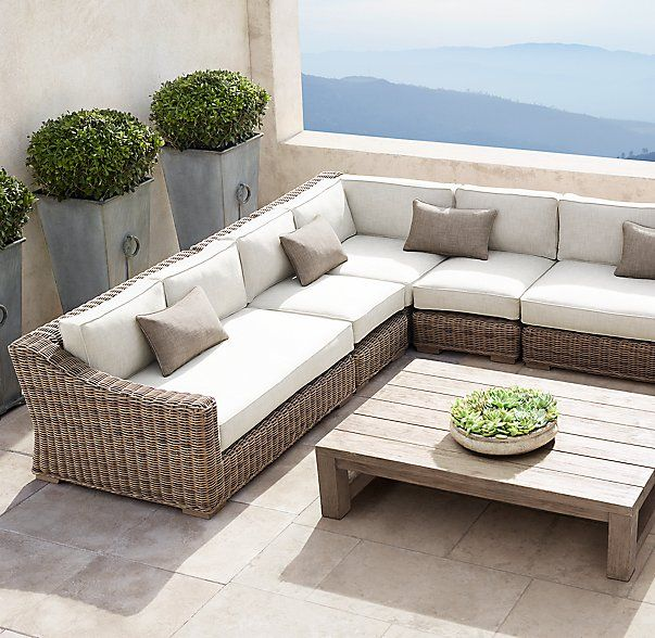 Provence Classic Customizable Sectional/We Can Choose Size, Fabric And  Wicker Color. Small Scale FurnitureOutdoor ...