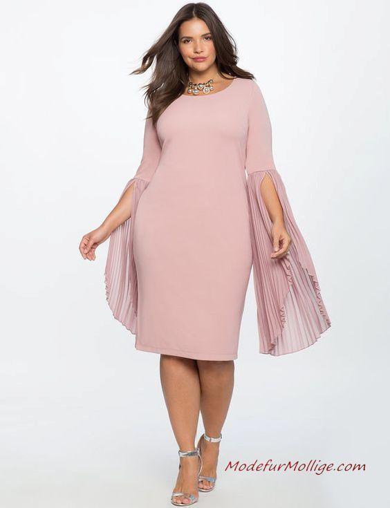 Kleid für Hochzeitsgäste; Plissee Flare Ärmel rosa Kleid ...