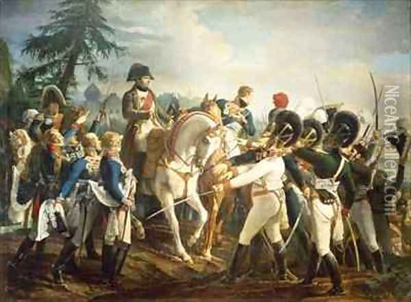Napoleon and the Bavarian and Wurttemberg troops in Abensberg Oil Painting - Jean Baptiste Debret