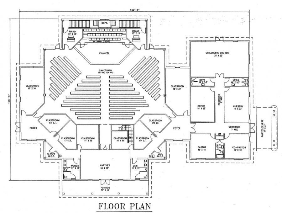 Small church building plans church plan 129 lth steel for Floor plan church